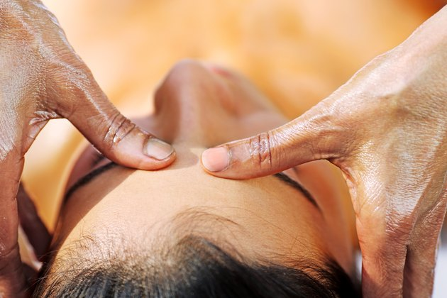 Close up of a woman having an oil massage