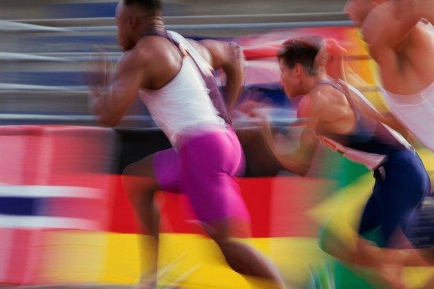 action shot of a men's sprint