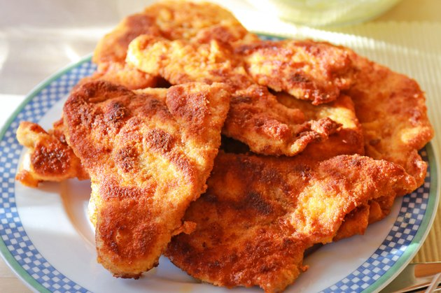 Freshly fried homemade Wiener Schnitzel, Austrian dish