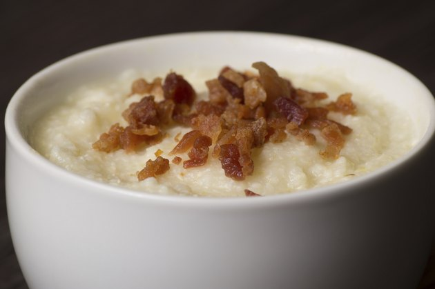 Grits topped with bacon