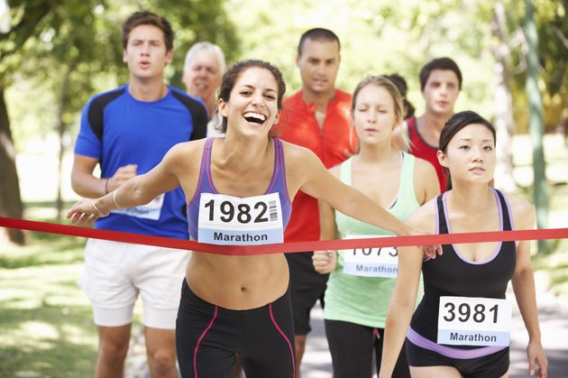 Female Athlete Winning Marathon Race