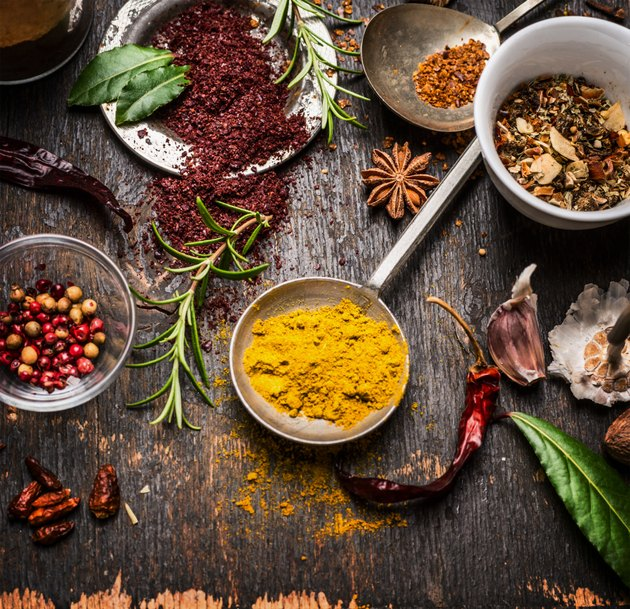 Herbs and spices selection with curry