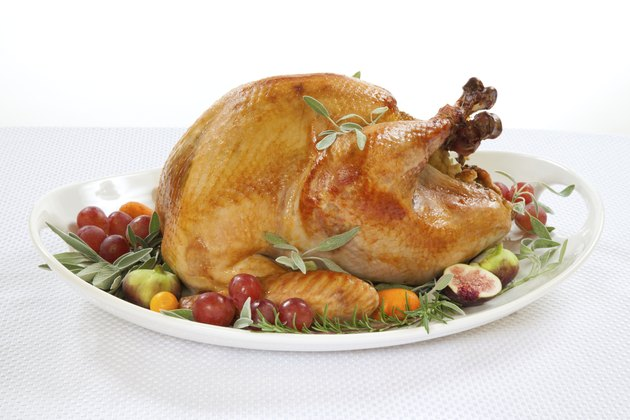 Roasted Turkey on tray over white
