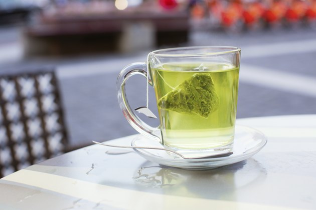 Hot green tea in a cafe