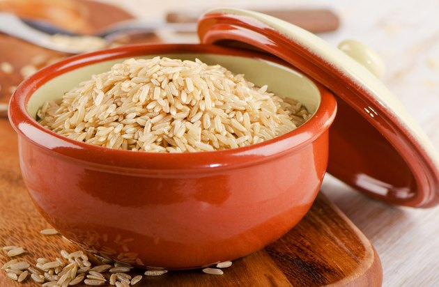 brown rice in a   bowl .