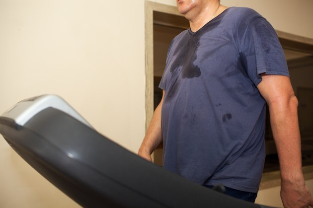 Intensive workout on treadmill, cardio training