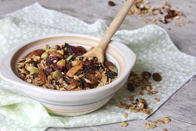 Healthy homemade granola or muesli with oats