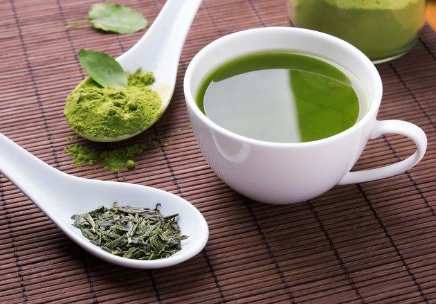 Green tea n the brown mat
