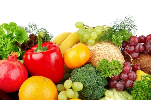 Dietetic set of paleo diet of vegetables and fruits