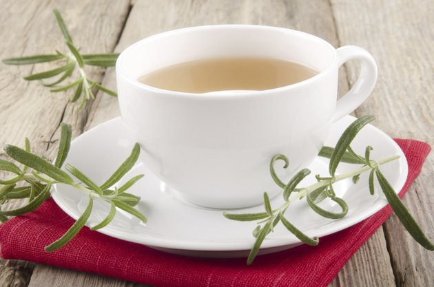 rosemary herbal tea in a cup