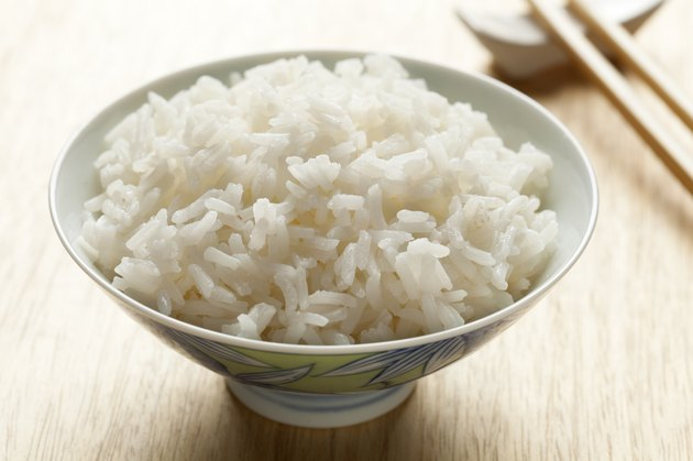 Bowl with cooked Jasmine rice