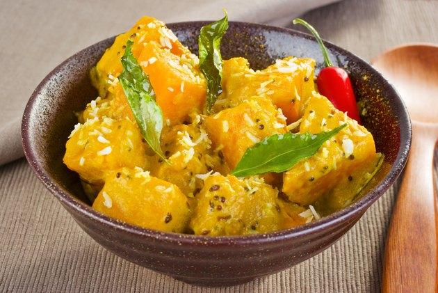 Indian Meal Food Cuisine Vegetarian Pumpkin Coconut Curry