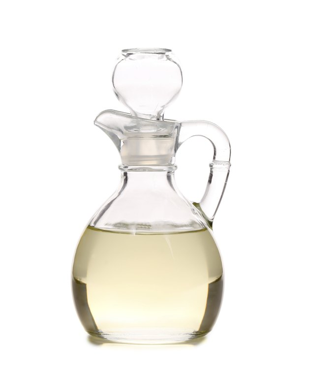 Vinegar in glass carafe.