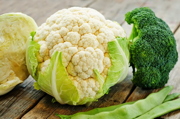 cauliflower, cabbage, broccoli and green beans