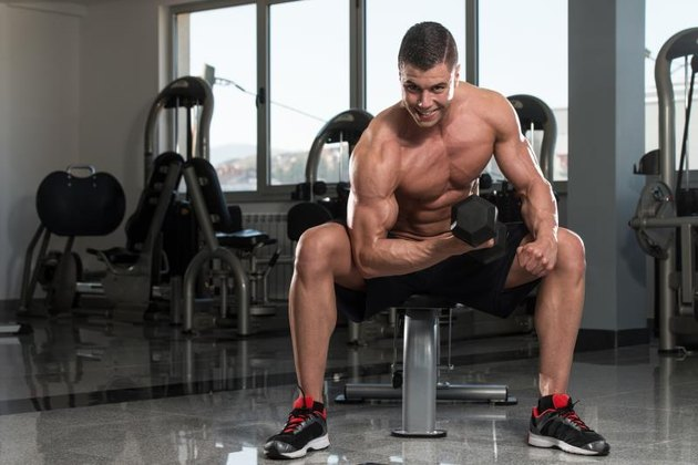 Young, physically fit bodybuilder working out biceps with dumbbell concentration curls.