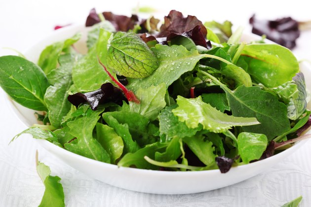 mixed fresh salad leaves