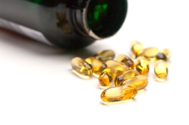 Spilled bottle of Fish Oil Capsules