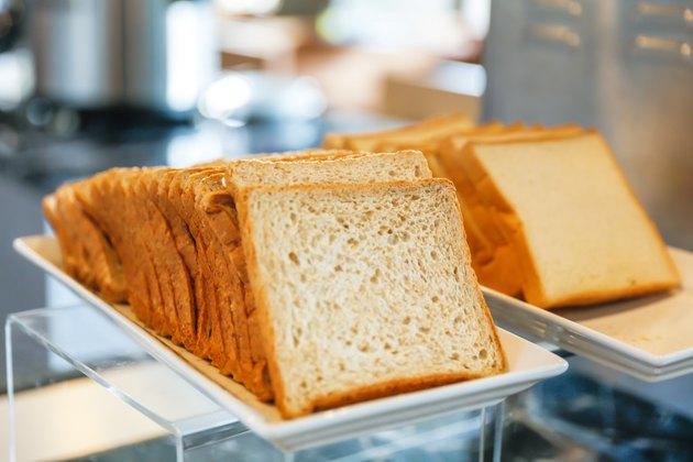 Bread at breakfast buffet display