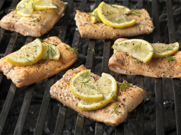 Cooked Salmon Fillets on the Grill