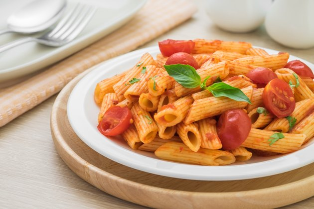Penne pasta in tomato sauce on plate