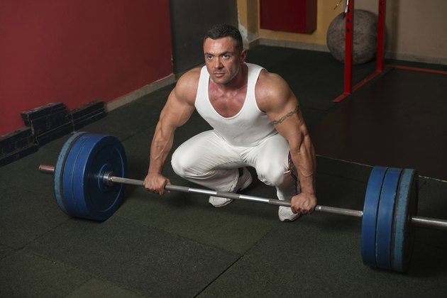 Man preparing to do deadlift