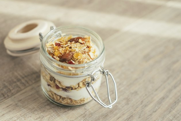 Homemade bircher muesli with toasted rolled oats