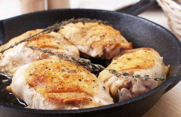 Golden crisp chicken thighs with herbs and spices