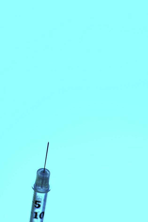 syringe close up on turquoise background