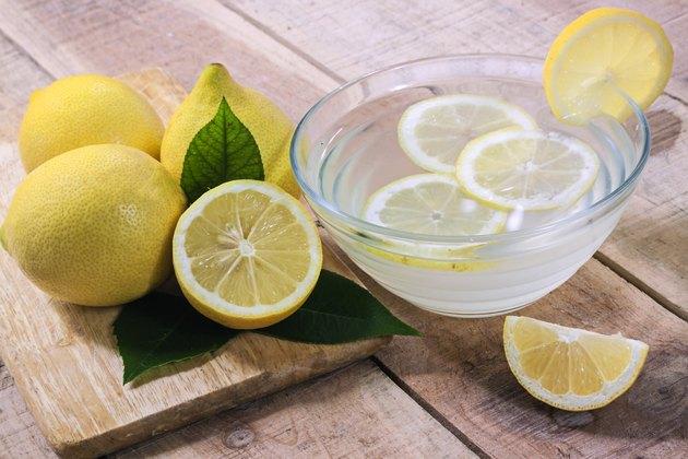 Lemons on wood background