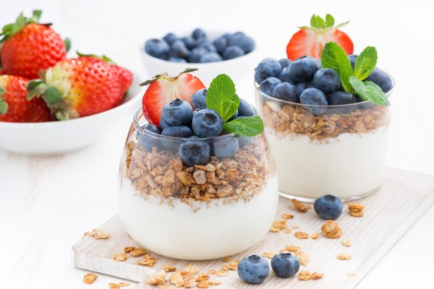 diet dessert with yogurt, muesli and fresh berries