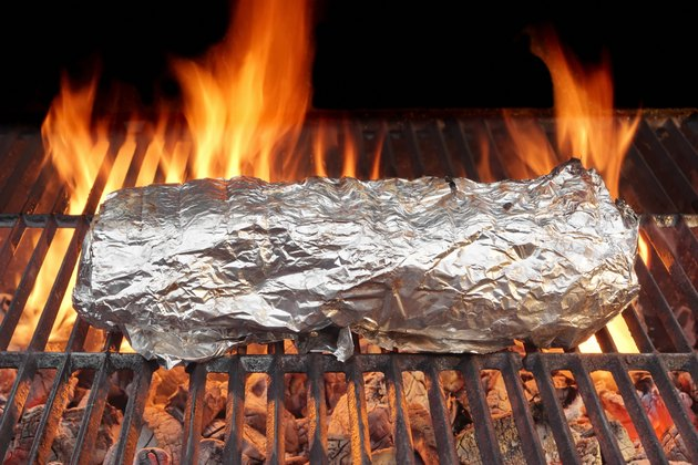 Meat Grilled in Foil  on Grill