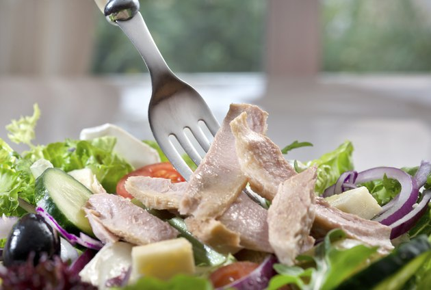 Tuna salad with fork