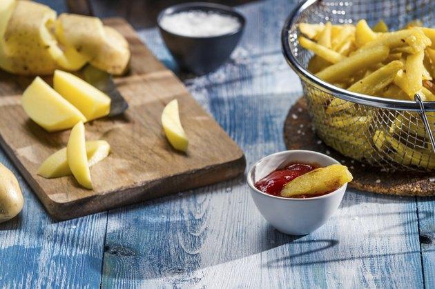 Closeup of fresh homemade French fries
