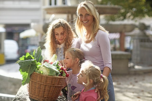Mid adult woman with daughters and basket of vegetables
