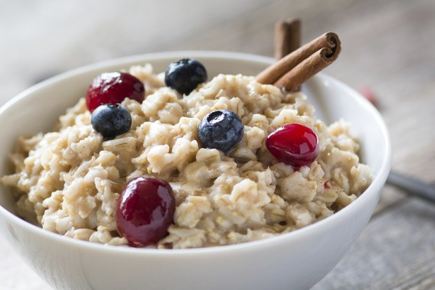 Oatmeal porridge with blueberries and cranberries