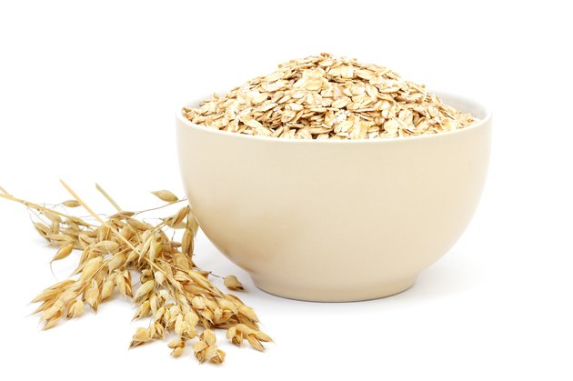 Rolled oats in a porcelain bowl