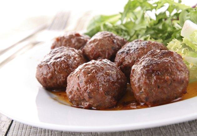 meatballs and salad