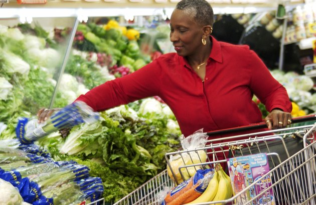 Older woman grocery shopping