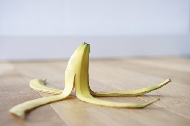 Can you eat banana peels? Banana skin on floor