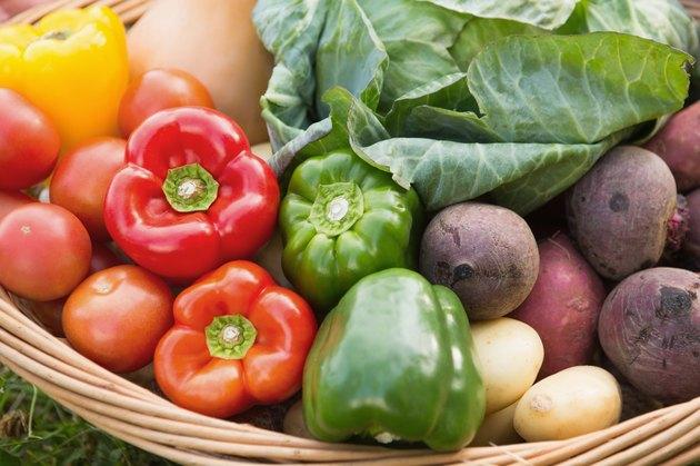 Basket of fresh organic veg