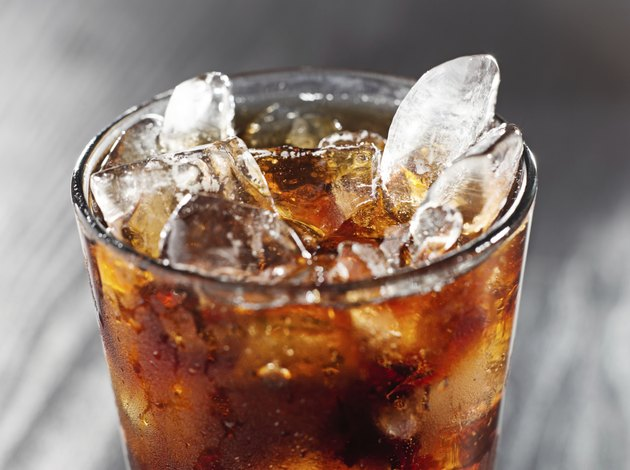 glass of cola with ice.