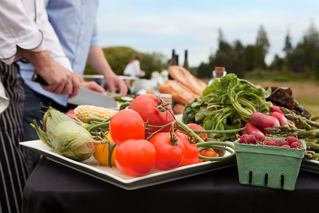 Fresh food being prepared outdoors
