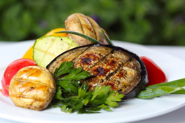Grilled vegetables with mushrooms and greens