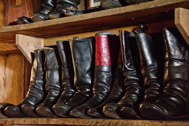Black and red handmade leather boots