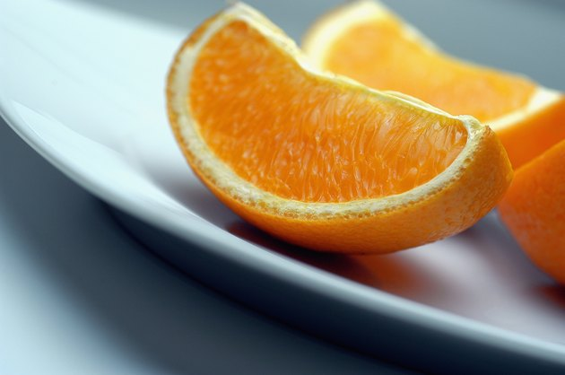 Orange wedges in a plate