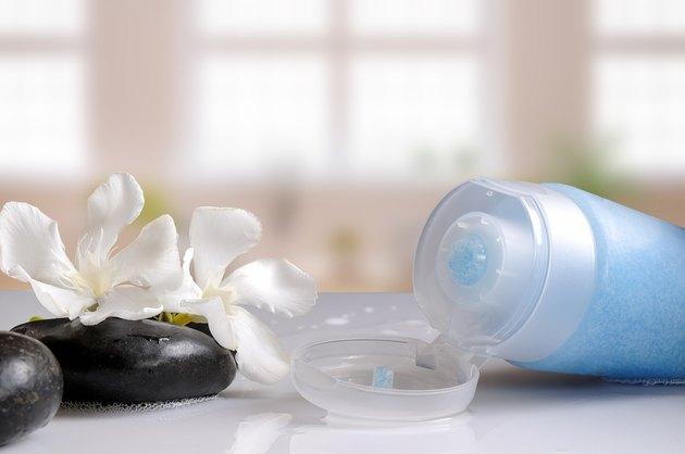 Blue exfoliating gel in a bath