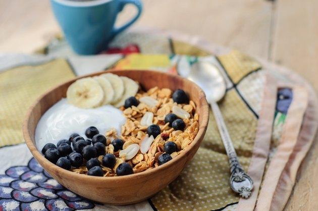 Homemade oatmeal granola with peanuts, blueberry and banana