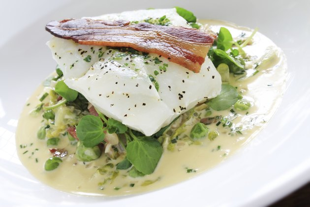 cod fillet with peas and cress