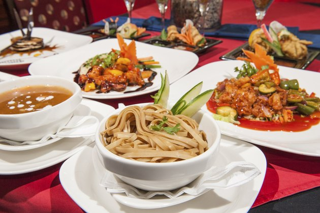 Selection of chinese food in a restaurant