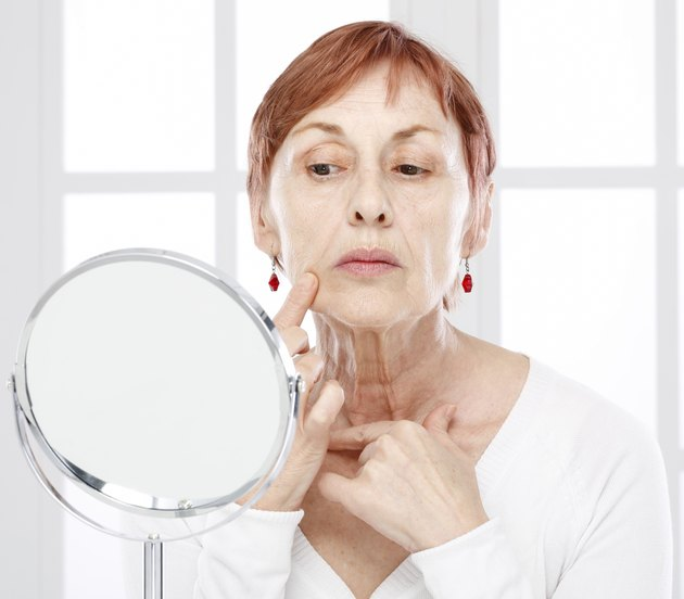 Mature woman and wrinkles.